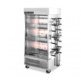 American Range ACB-14 Professional Specialty High Production 14 Spit Chicken Rotisserie 56-70 Birds Three Burner Gas