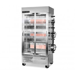 American Range ACB-7 Professional Specialty High Production 7 Spit Chicken Rotisserie 28-35 Birds Three Burner Gas