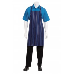 Chef Works A500NFW0 Navy, French Blue, and White Striped Bib Apron