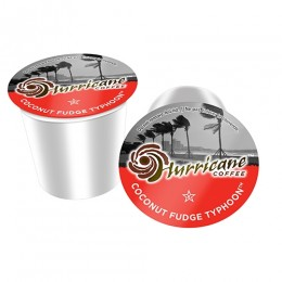 Hurricane Coffee Coconut Fudge Typhoon, 4 Boxes of 24 Cups, 96 Total