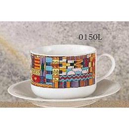 European Gift 0150L Aztec Design Latte Cups & Saucers Set of 2