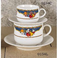 European Gift 0154C Harvest Design 8.5 oz Cappuccino Cups Saucers(4)