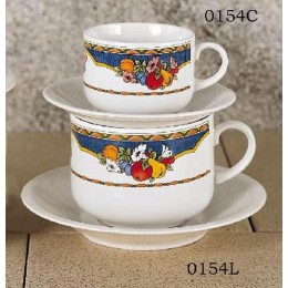 European Gift 0154L Harvest Design 20 oz Latte Cups and Saucers 2/Set