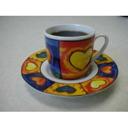 European Gift 0190 Amore Design Espresso Demitasse Cups/Saucers 6/Set
