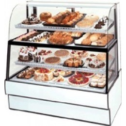Federal CGR5060DZH Curved Glass Horizontal Dual Zone Bakery Case Refrigerated Bottom Non-Refrigerated Top 50