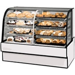 Federal CGR5942DZ Curved Glass Vertical Dual Zone Bakery Case Refrigerated Left Non-Refrigerated Right 59