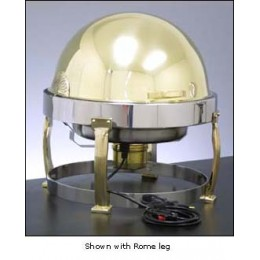 Legion E7D708B Round Built-In Electric Chafer with Rollback Cover and Rome Legs Brass 2 Gallon