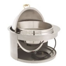 Legion F4D708B Round Built-In Electric Chafer with Rollback Cover and Luxor Legs Silver 2 Gallon