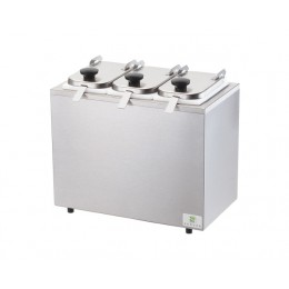 Server Insulated Bar w/ 3 Jars, Hinged Lids, & Ladles