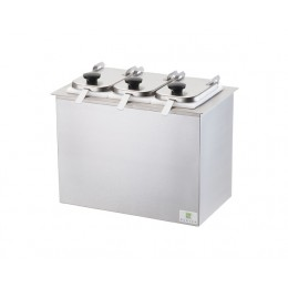 Server Drop-In Insulated Bar w/ 3 Jars, Hinged Lids, & Ladles