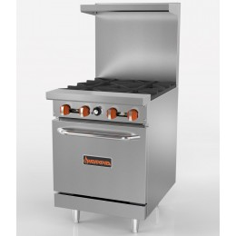 Sierra SR-4-24 4-Burner Range with Oven, 144,000 BTU