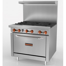 Sierra SR-6-36 6-Burner Range with Oven, 212,000 BTU