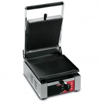 Sirman USA 34A1301105SI Ellio R Paninonstick Panini Grill Grooved Top Grooved Bottom with Timer 1500w 120V