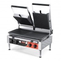 Sirman USA 34A3631105SI PD M Paninonstick Panini Grill Grooved Top Half Flat Half Grooved Bottom with Timer 4500w 220V