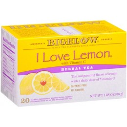 Bigelow Herb I love Lemon Tea Bag, 6 Boxes of 28 Tea Bags, 168 Total