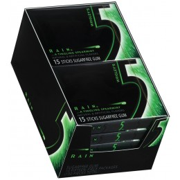 5 Gum Rain Slim Pack, 15 Pieces Each, 12 Boxes of 10 Packs, 120 Total