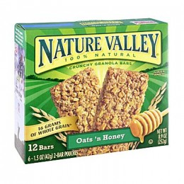 General Mills 33530 Nature Valley Granola Oat and Honey Bar Retail 1.5 oz Each Bar, 108 Bars Total