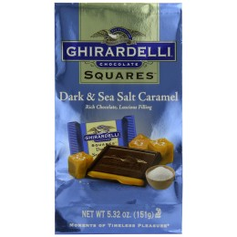 Ghirardelli Dark and Caramel Sea Salt Chocolate Squares, 5.32 oz Each, 6 Total